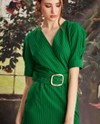 HAVE I TOLD YOU SHAPELY DRESS (GREEN PINSTRIPE)