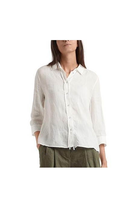 LONG BLOUSE IN STRETCH FABRIC (OFF WHITE)