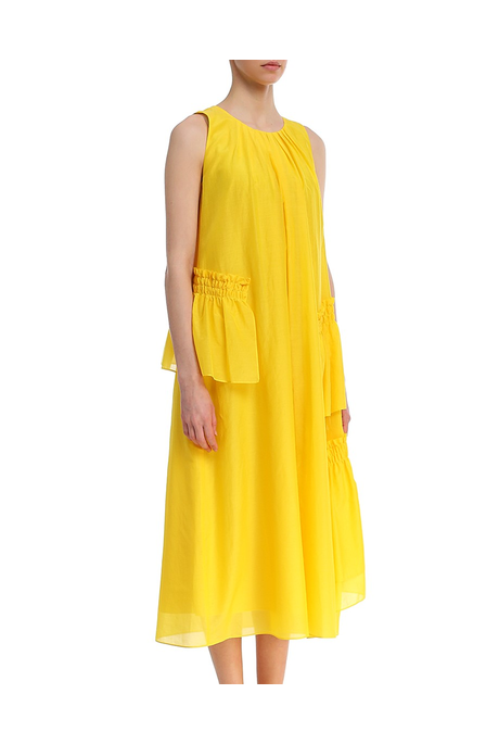 MIDI DRESS WITH RUFFLES (SAFFRON)