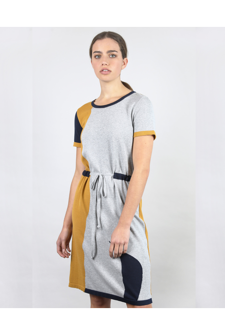 ABSTRACT DRESS (SUNNY/NAVY/CINDER)