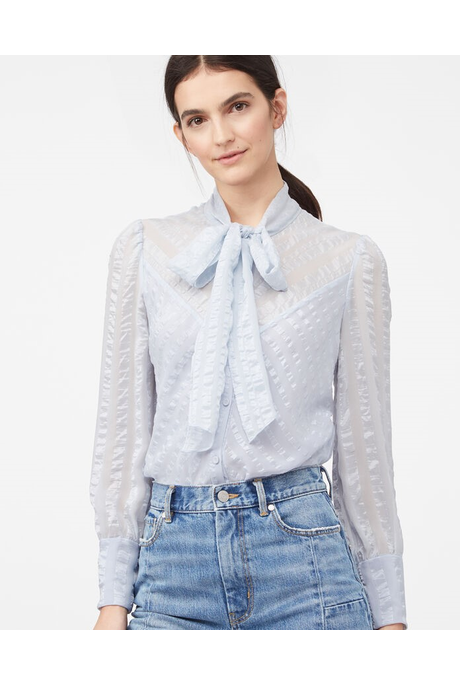 LA CHEMISE SILK SATIN STRIPE TOP (CLOUD)