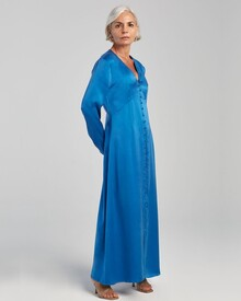LONG SLEEVED V NECK DRESS (COBALT BLUE)-shop-by-category-Lynn Woods