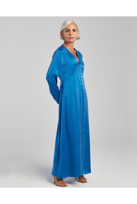 LONG SLEEVED V NECK DRESS (COBALT BLUE)