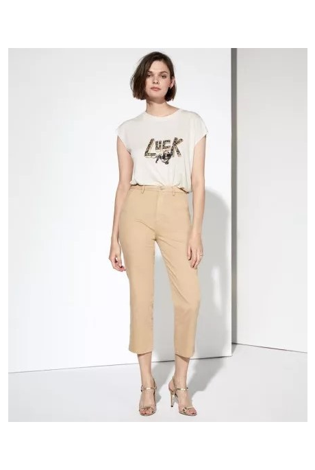SANDY HIGH WAIST CROPPED CHINO TROUSERS ( BEIGE)