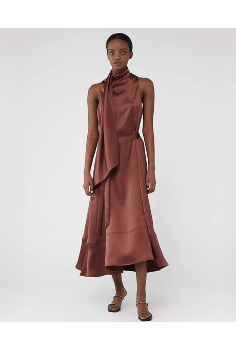 CANNES SATIN DRESS (CINNAMON)