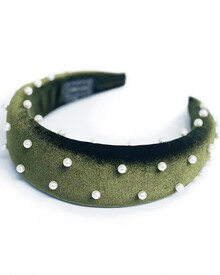 BEADED PEARL VELVET ALICE BAND (GREEN)-shop-by-category-Lynn Woods