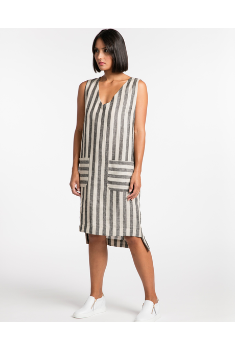 LIVE IN THE NOW DRESS (NATURAL/BLACK STRIPE)