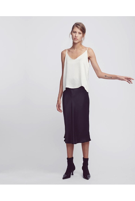 SILK BIAS CUT SKIRT (BLACK)