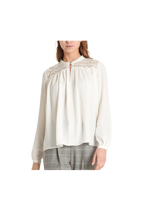 BLOUSE WITH LACE INSERTS (OFF WHITE)