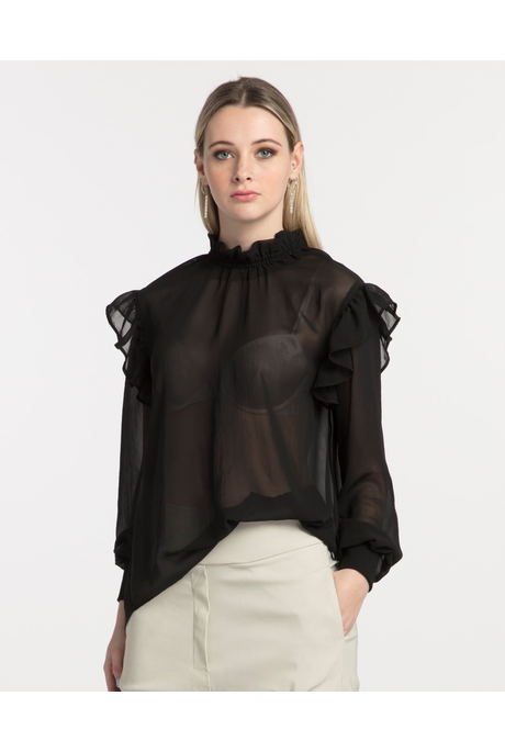 DESIGN FRILL TOP (BLACK)
