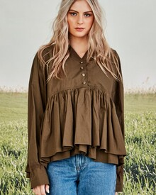 TOP ME UP SHIRT (KHAKI)-shop-by-category-Lynn Woods