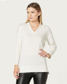 MERINO RELAXED V JUMPER (ANTIQUE WHITE)-shop-by-category-Lynn Woods