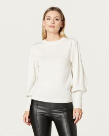 MERINO PUFF SLEEVE JUMPER (ANTIQUE WHITE)-shop-by-category-Lynn Woods