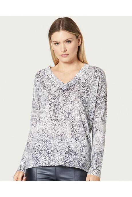 SUPERFINE PRINT V NECK JUMPER (NAVY SPOT)