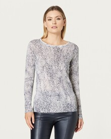 SUPERFINE PRINT CREW NECK JUMPER (NAVY SPOT)-shop-by-category-Lynn Woods